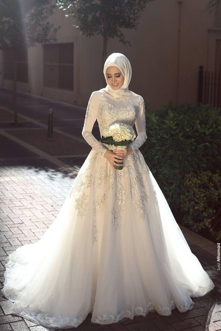 صورة فساتين عرايس محجبات , كوني اجمل عروسة بهذه الفساتين