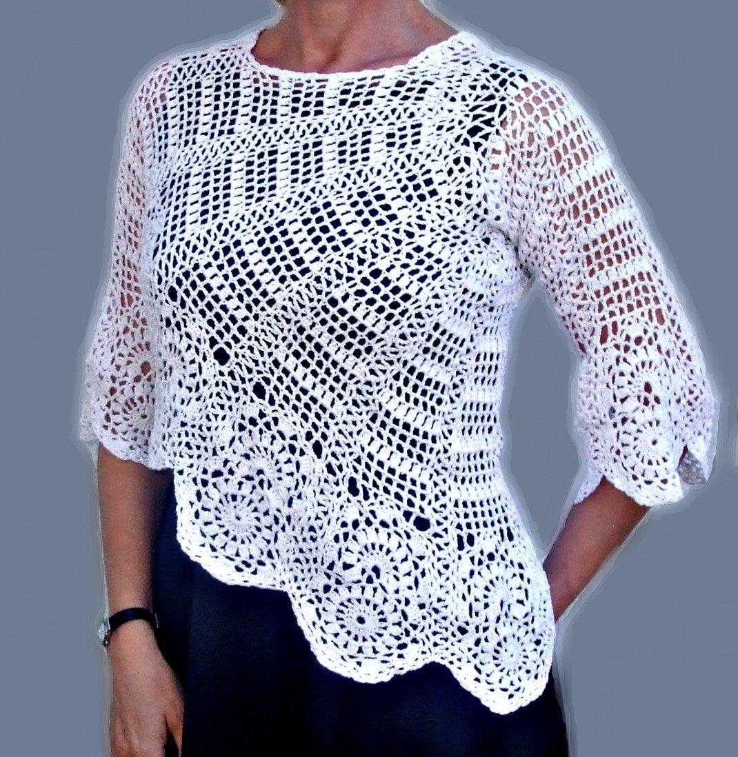 صورة كروشية بالباترون بلوزات , الموضة للبنات في الملابس الكروشية